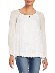 Saks Fifth Avenue Embroidered Silk Top White