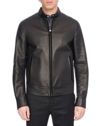 Berluti Leather Racer Jacket With Suede Trim Black