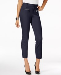 Inc International Concepts Petite Straight Leg Cropped Zipper Pocket Pants Only At Macy's Deep Twilight