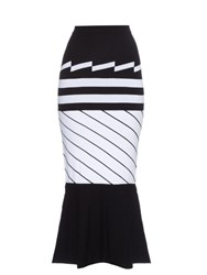 Preen Nev Intarsia Knit Midi Skirt Black White