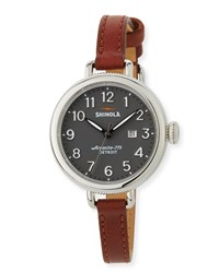 Shinola 34Mm The Birdy 3 Hand Date Watch With Cognac Leather Strap Silver