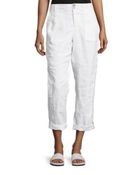 Neiman Marcus Two Button Lace Inset Linen Cargo Pants White