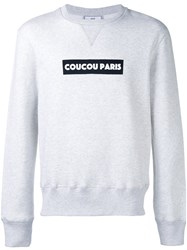 Ami Alexandre Mattiussi Coucou Paris Print Sweatshirt Men Cotton L Grey
