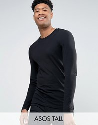 Asos Tall Muscle Long Sleeve T Shirt With Crew Neck In Black Black