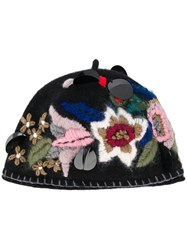 Le Chapeau Embroidered Floral Hat Black