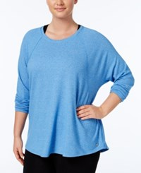 Calvin Klein Performance Plus Size Long Sleeve Heathered Top Marina