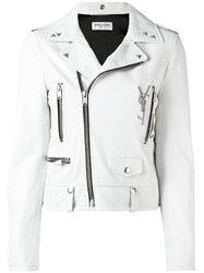 Saint Laurent Zip Biker Jacket White