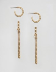 Asos Pack Of 2 Hammered Hoop And Drop Earrings Gold