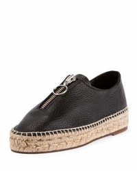 Alexander Wang Devon Leather Zip Front Espadrille Black
