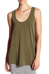Hip Curved Loose Tank Green