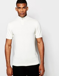 Asos Knitted Turtle Neck T Shirt With Zip Ecru