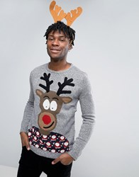 Pull And Bear Pullandbear Christmas Jumper In Grey With Reindeer Print Grey