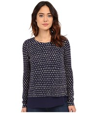 Lucky Brand Polka Dot Printed Pullover Blue Multi Women's Sweater