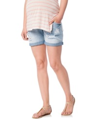 Wendy Bellissimo Distressed Denim Shorts Blue