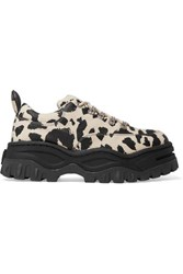 Eytys Angel Leopard Print Cotton Canvas Platform Sneakers Leopard Print