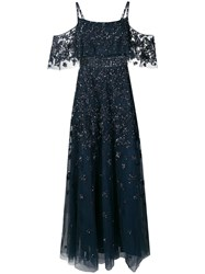 Zuhair Murad Crystal Embellished Gown Blue