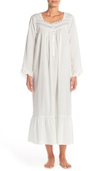 Eileen West 'Pacific Solic' Long Sleeve Nightgown Solid Winterwhite