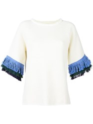 Tory Burch Fringe Sleeve Knit Top White