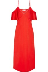 Alexander Wang T By Cold Shoulder Chain Trimmed Stretch Crepe Midi Dress Crimson