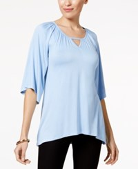 Cable And Gauge Elbow Sleeve Keyhole Top Chambray Blue