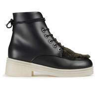 F Troupe Women's Reversed Leather Fur Top Lace Up Boots Black
