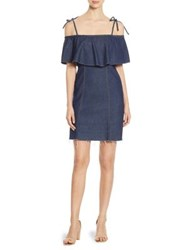 7 For All Mankind Ruffled Cold Shoulder Denim Dress Luxe Lounge Deep Blue