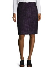 Tahari By Arthur S. Levine Tweed Pencil Skirt Purple