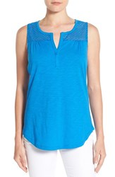 Women's Nydj Knit Tank With Eyelet Yoke Chateau Blue