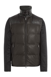 Brioni Leather And Cashmere Jacket Brown
