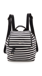 Kate Spade Classic Nylon Stripe Molly Backpack Black Clotted Cream
