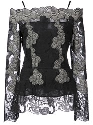 Yigal Azrouel Off The Shoulder Lace Blouse Polyester Black