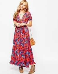 Asos Tea Maxi Dress With Wrap Front In Paisley Print Multi
