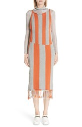 Eckhaus Latta Stripe Tassel Hem Sweater Dress Grog Grey Orange