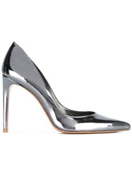 Stuart Weitzman Metallic Grey Pumps Women Leather Patent Leather 38