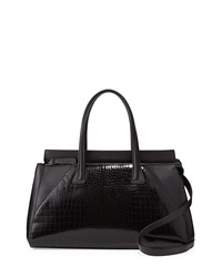 Charles Jourdan Kaimi Crocodile Embossed Satchel Bag Black