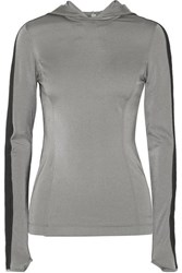 No Ka' Oi Ka'oi Mahina Olu Two Tone Stretch Hooded Top Silver