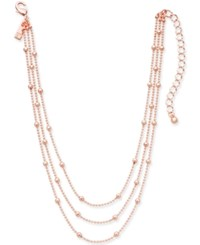Inc International Concepts Rose Gold Tone Three Layer Beaded Choker Necklace 12 3 Extender Created For Macy's