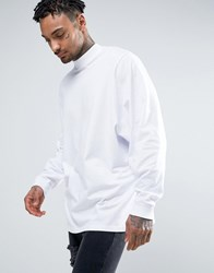 Asos Longline Long Sleeve T Shirt With Batwing Oversized Sleeve In White White