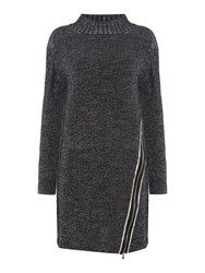 Crea Concept Textured Side Zip Jumper Dress Black