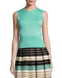 Lela Rose Classic Sleeveless Shell Light Green