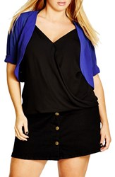 City Chic Plus Size Women's Sheer Chiffon Shrug Dewberry
