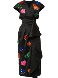 Manish Arora Sequin Embroidered Wrap Dress Black