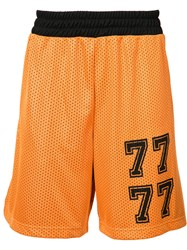 Palm Angels Mesh Shorts Men Polyester Xxl Yellow Orange