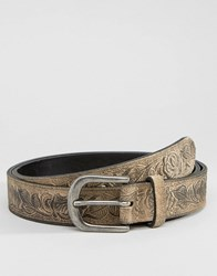 Asos Slim Suede Belt In Stone With Floral Emboss Stone