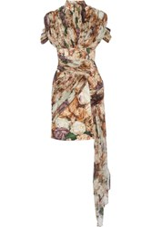 Christopher Kane Draped Floral Print Crepe And Silk Georgette Mini Dress Beige