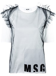Msgm Sheer Ruffles Logo T Shirt White