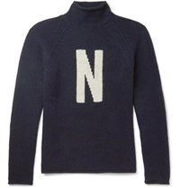 Norse Projects Thore N Intarsia Wool Sweater Navy