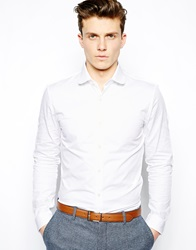 Reiss Shirt With Curve Collar White