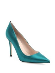Sarah Jessica Parker Fawn Satin Point Toe Pumps Emerald Candy Pink Skyline Blue