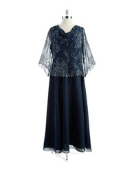 J Kara Plus Beaded Three Quarter Sleeved Gown Navy